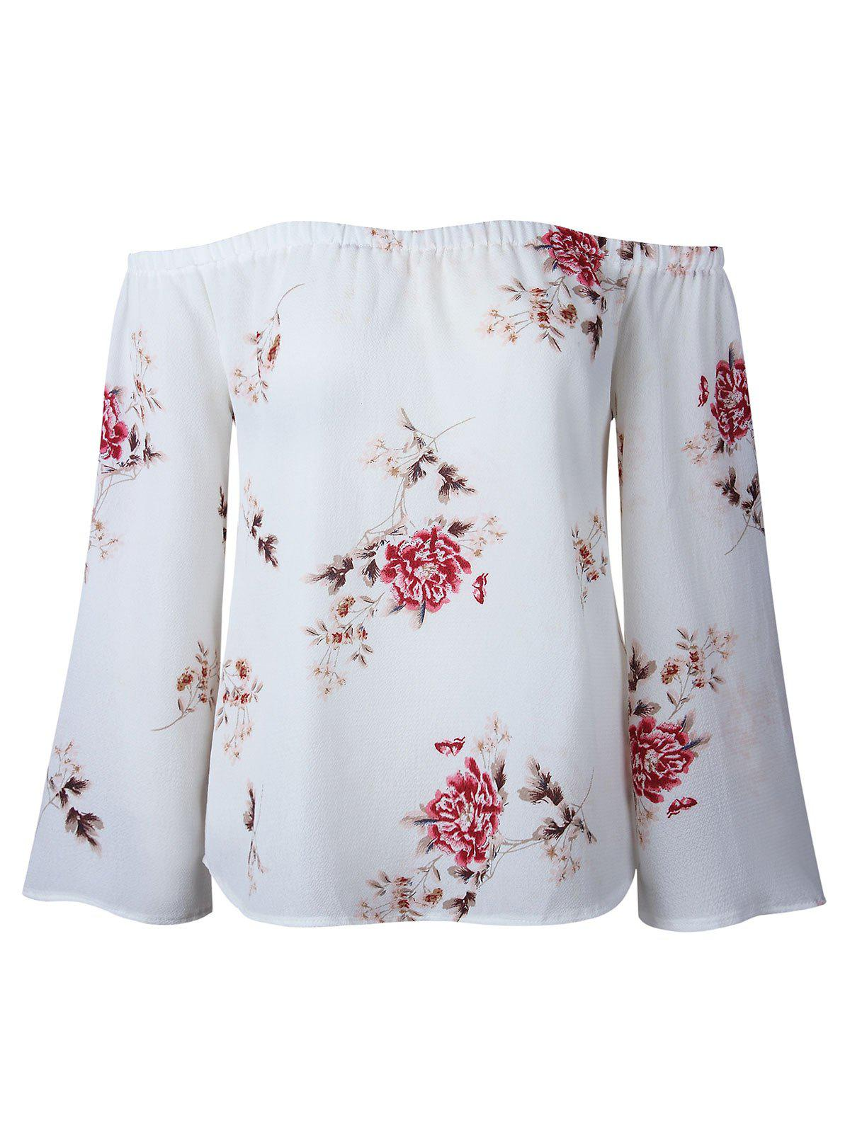 Floral Print Off Shoulder Blouse - WHITE L