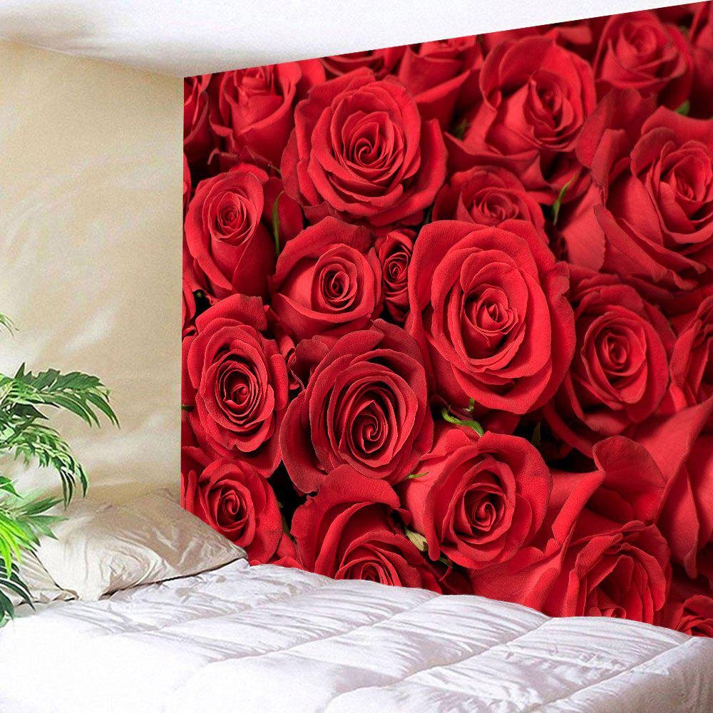 Valentines Day Roses Printed Wall Tapestry - RED W59 INCH * L51 INCH