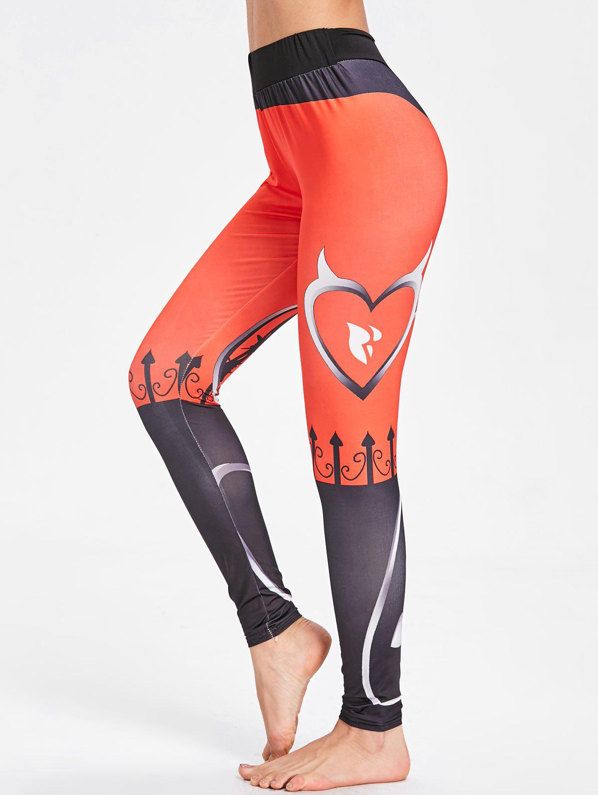 Pattern High Rise  Workout Leggings - BLACK/ORANGE S