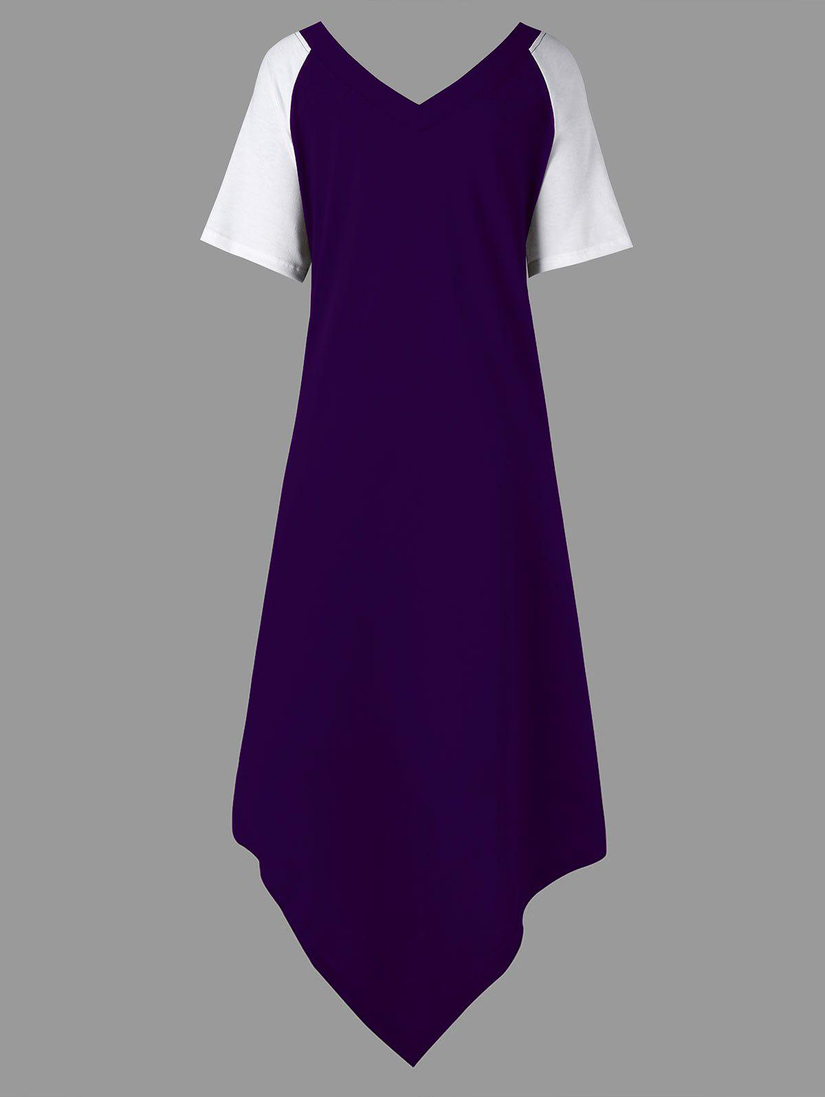Plus Size Color Block Asymmetrical Tee Dress - PURPLE 4XL