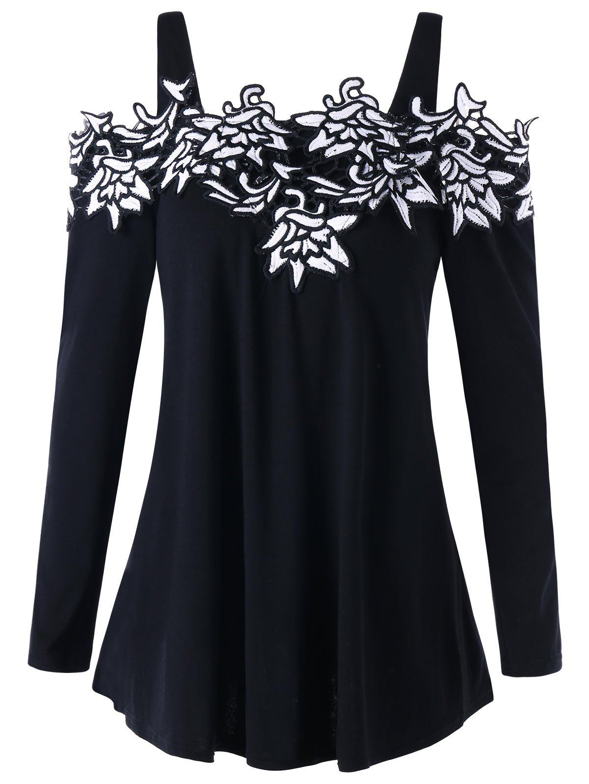 Open Shoulder Embroidered Applique Top - BLACK M