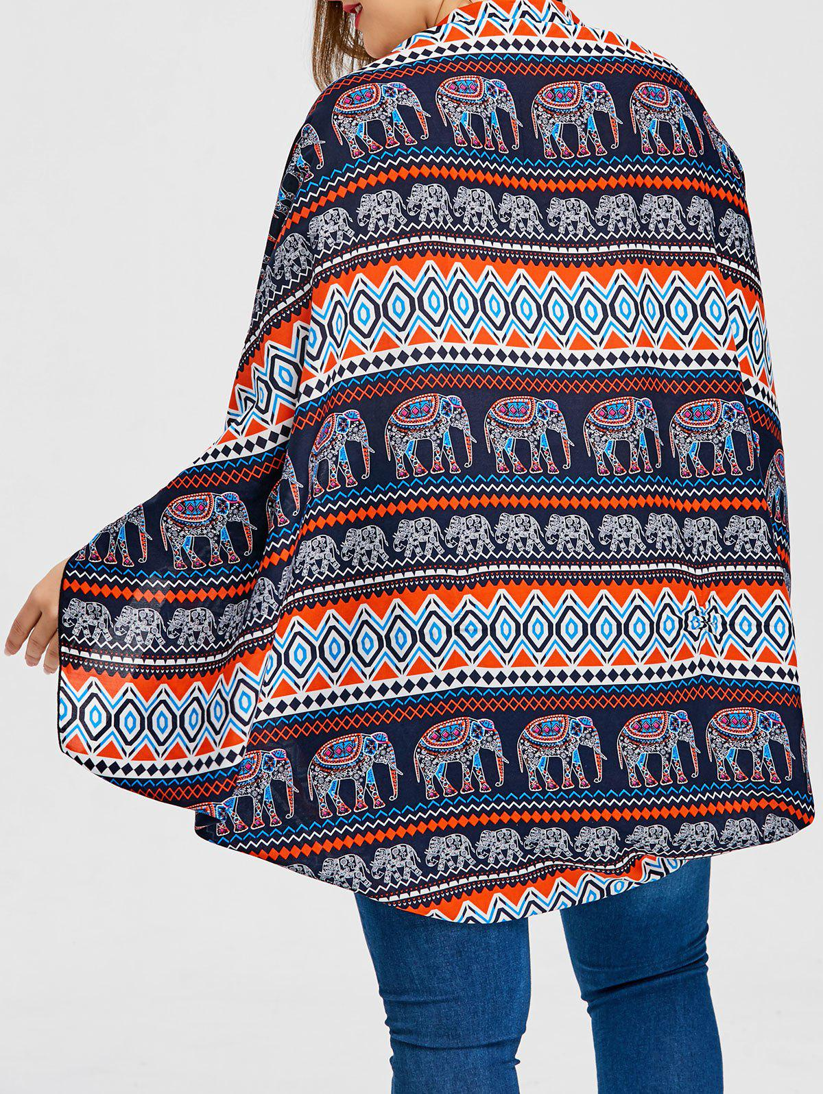 Elephant Printed Plus Size Blouse - BLUE ONE SIZE