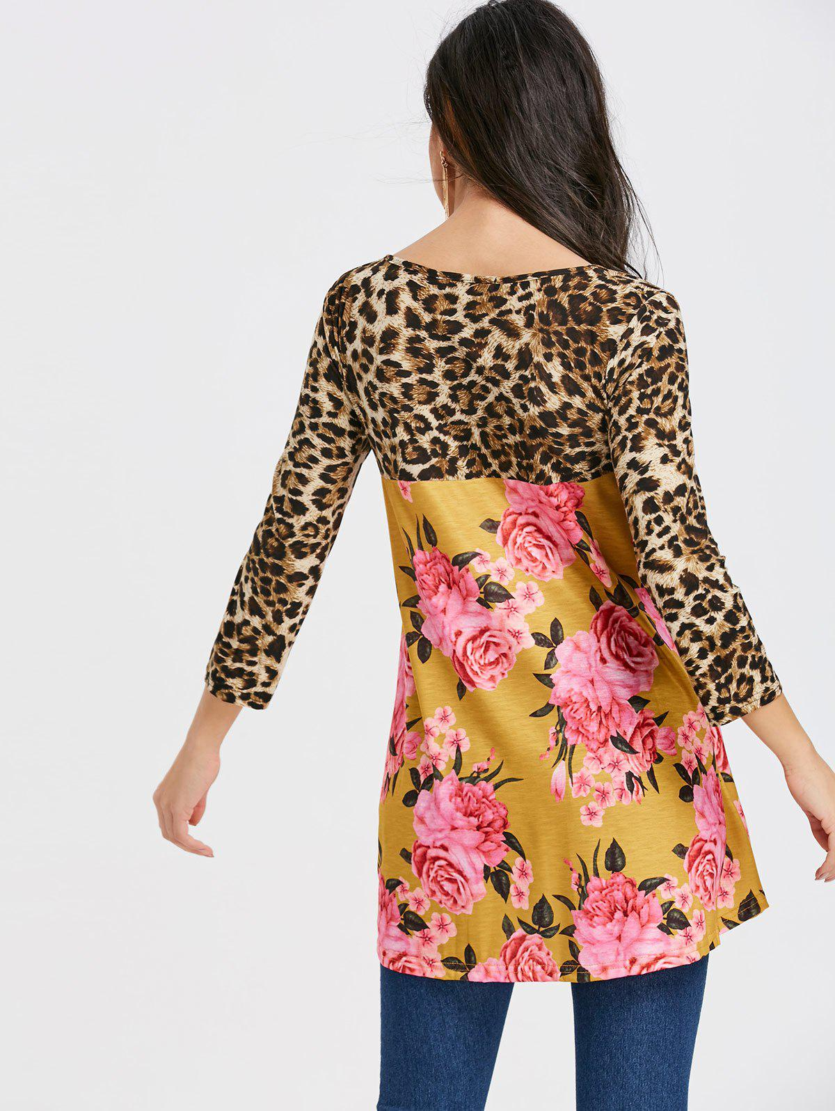 Floral and Leopard Printed Tunic T-shirt - YELLOW XL
