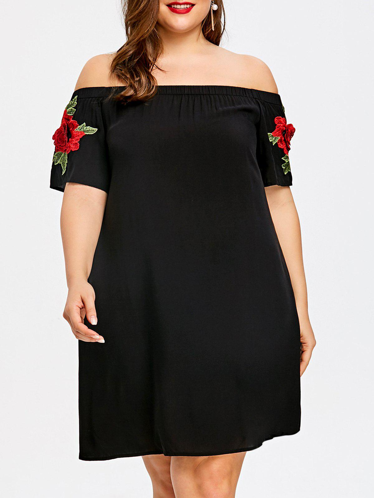 Plus Size Embroidery Off Shoulder Trapeze Dress - BLACK 2XL