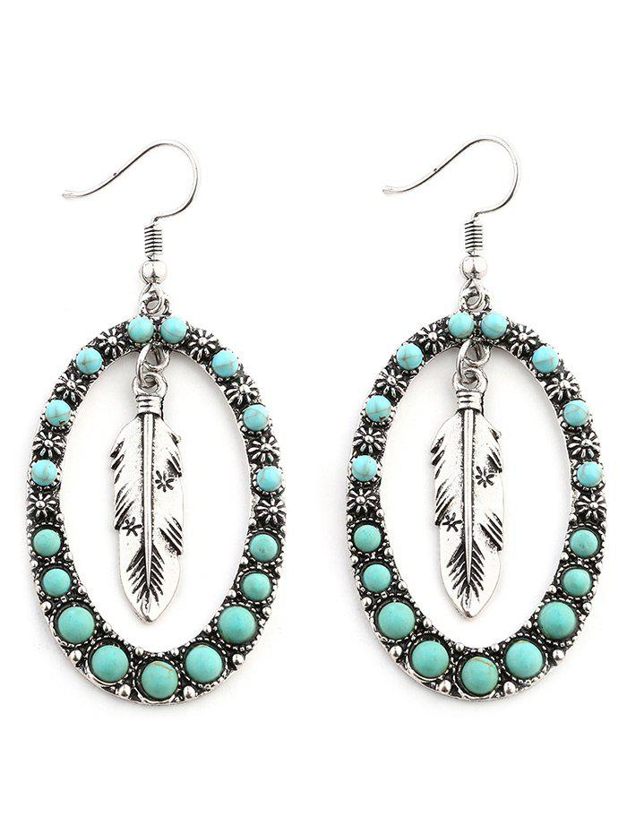Bohemia Faux Turquoise Inlay Floral and Leaf Drop Earrings - SILVER