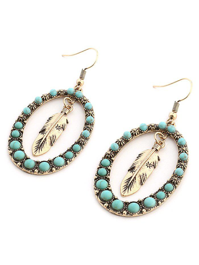 Bohemia Faux Turquoise Inlay Floral and Leaf Drop Earrings - GOLDEN