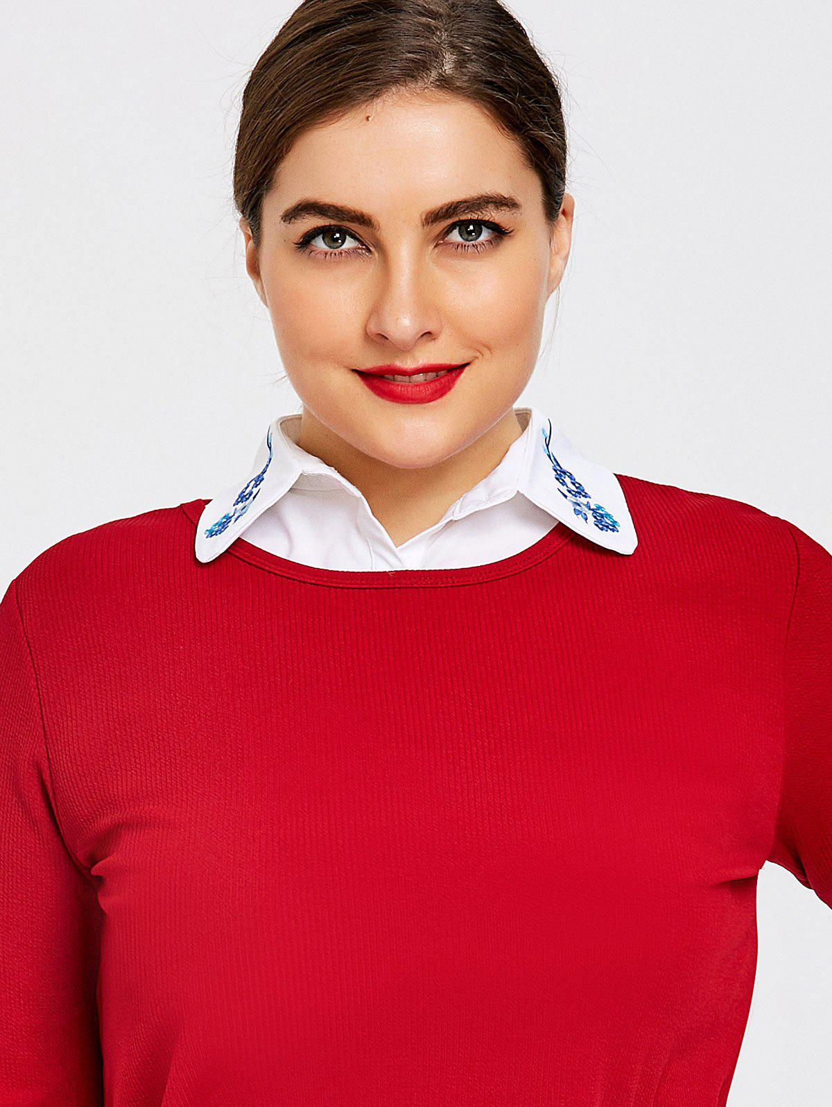 Plus Size Shirt Dicky Embroidered Detachable Collar - WHITE ONE SIZE