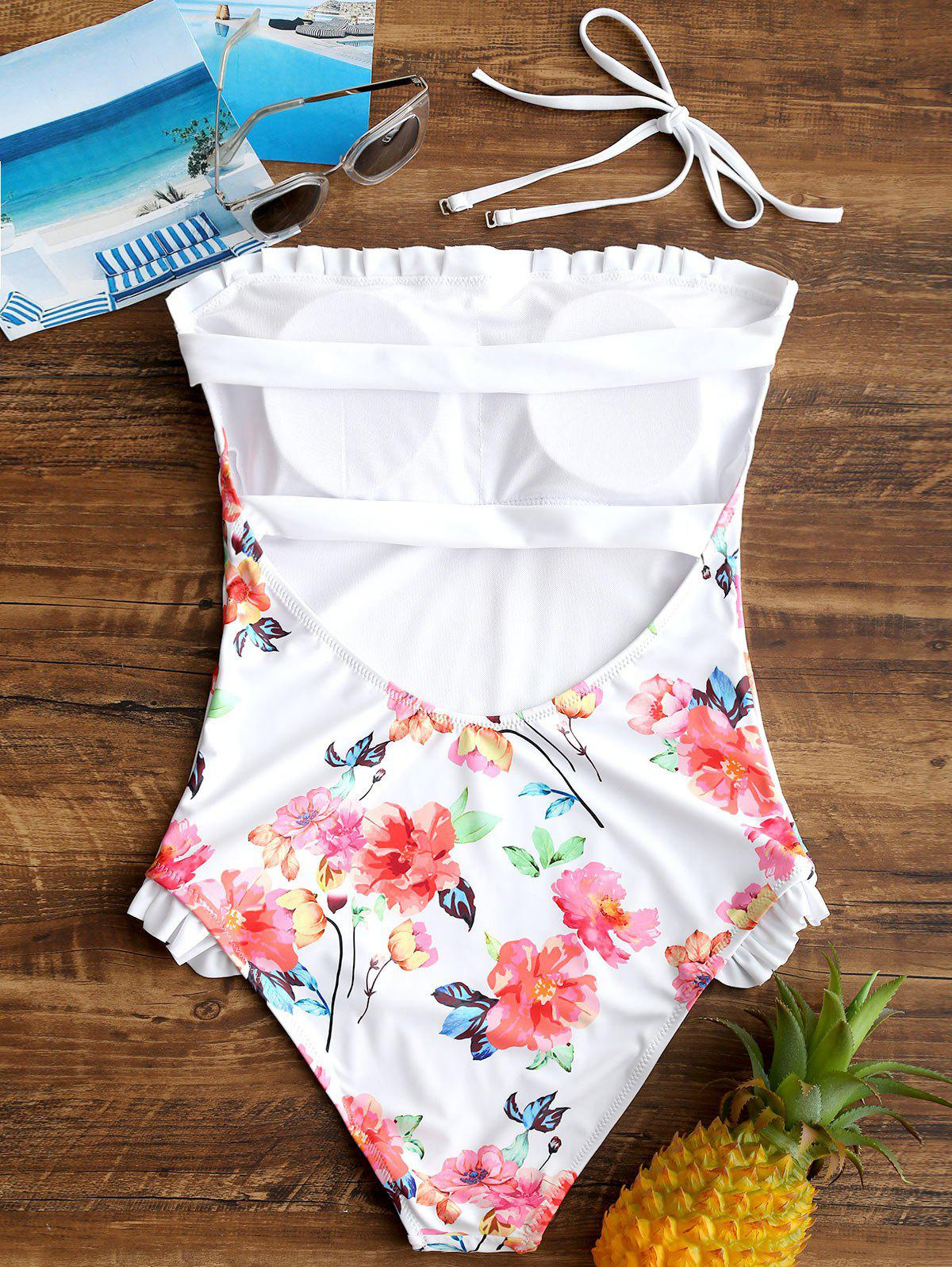 One Piece Ruched Floral Backless Swimsuit - WHITE XL