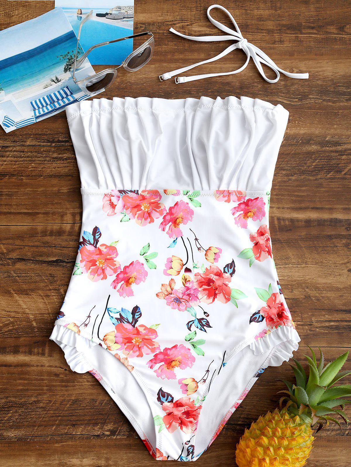 One Piece Ruched Floral Backless Swimsuit - WHITE M