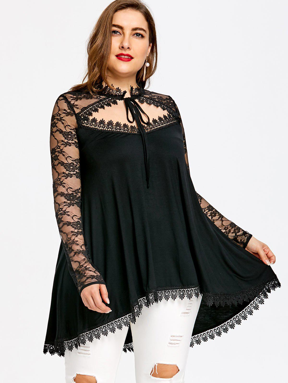 Plus Size Lace Trim Dip Hem Tunic T-shirt - BLACK 2XL