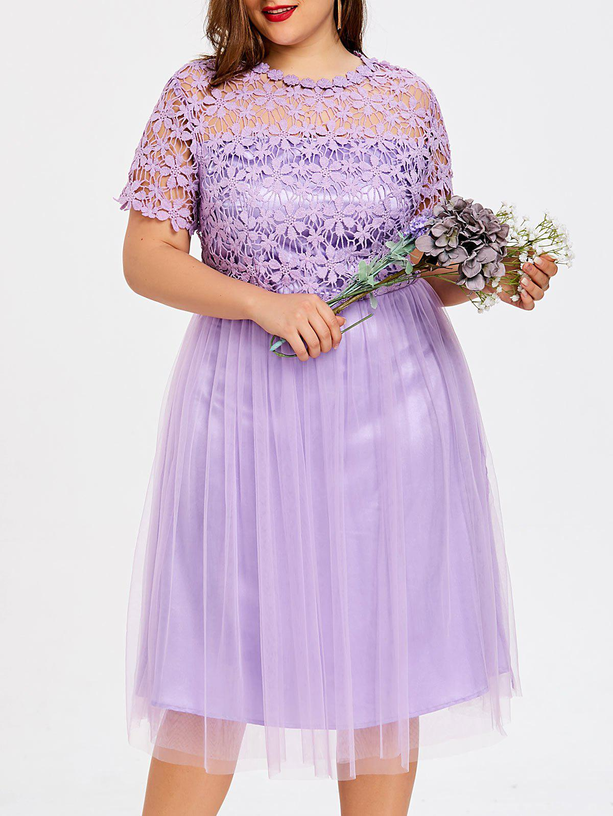 Plus Size Lace Panel Tulle Bridesmaid Dress - LIGHT PURPLE 3XL
