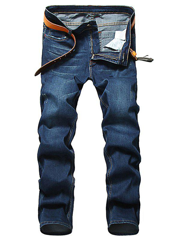 Zipper Fly Straight Classic Jeans - DEEP BLUE 32