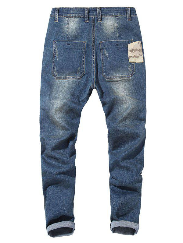 Camo Patch Tapered Drop Crotch Jeans - LIGHT BLUE 40