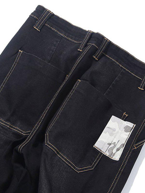 Camo Patch Tapered Drop Crotch Jeans - BLACK 36