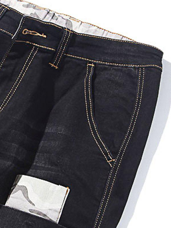 Camo Patch Tapered Drop Crotch Jeans - BLACK 42
