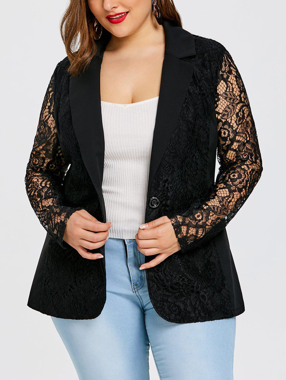 Plus Size One Button Lace Blazer - BLACK 5XL