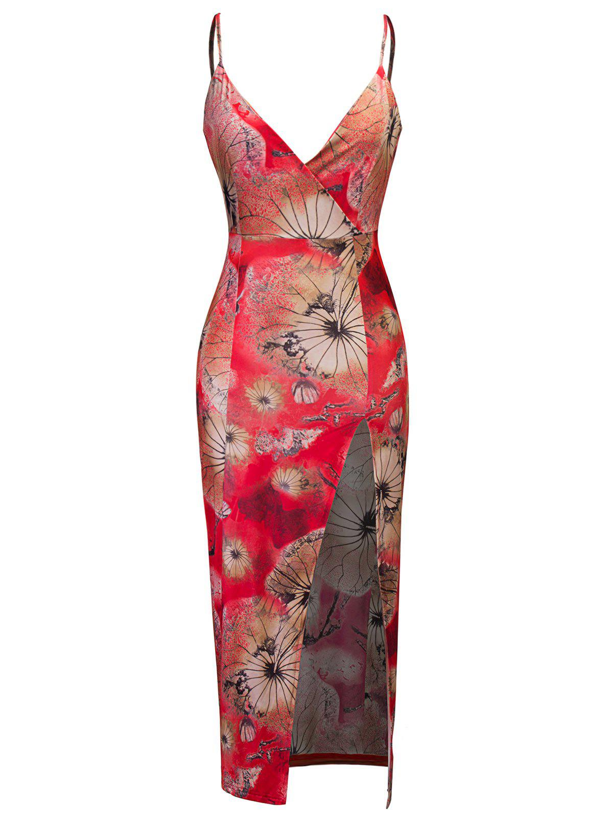Floral Print High Slit Midi Bodycon Dress - RED S