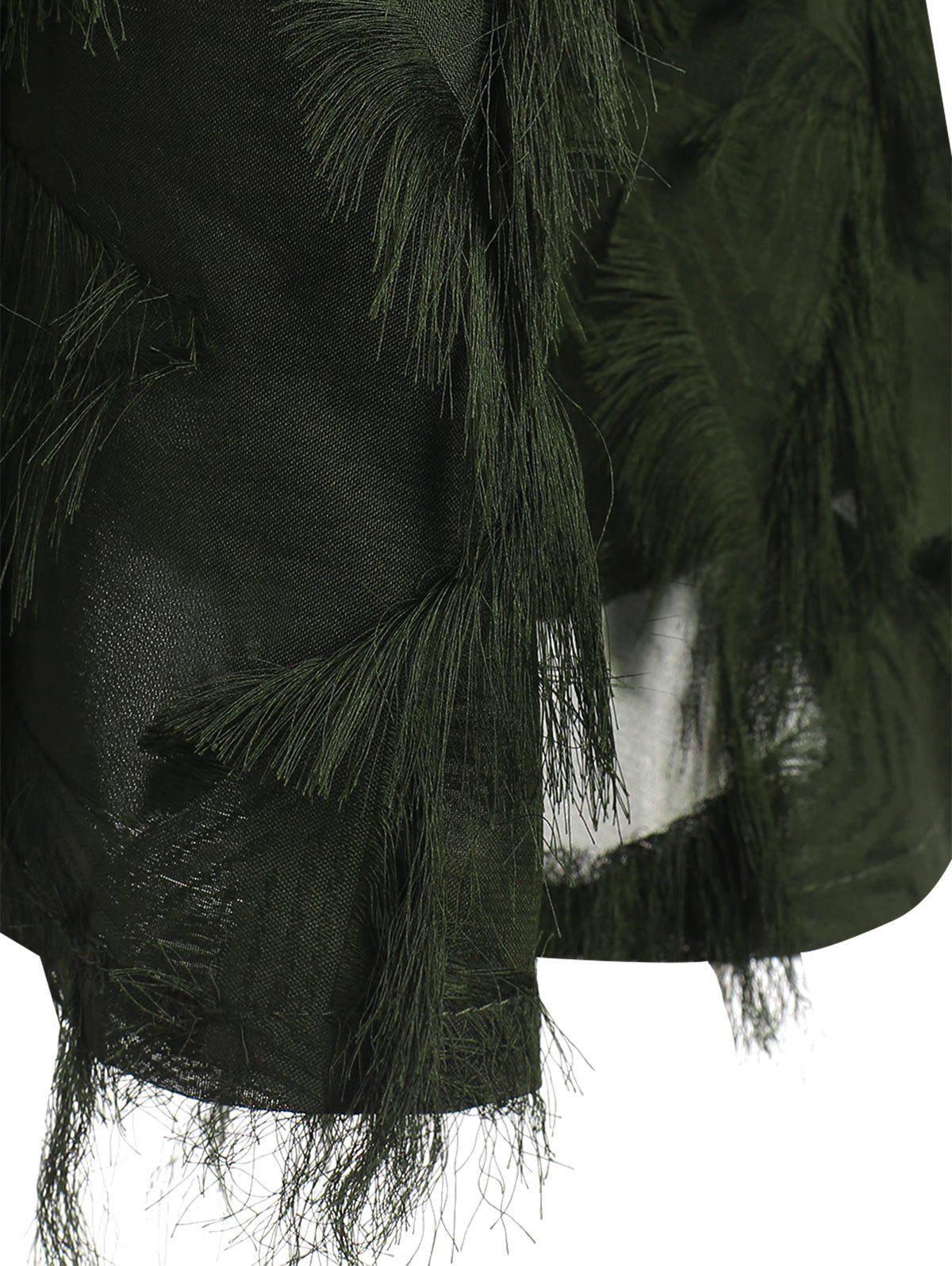 Lace Panel Fringed Plus Size Blouse - ARMY GREEN 5XL