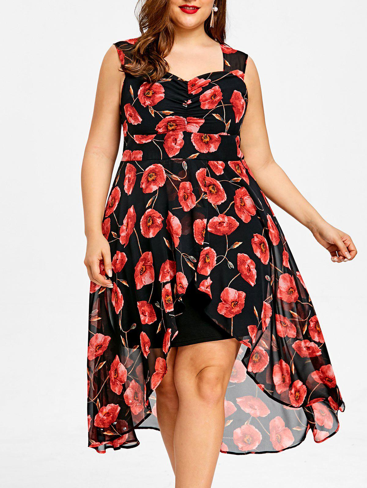 Plus Size Sweetheart Neck High Low Floral Dress floral v neck high low dress
