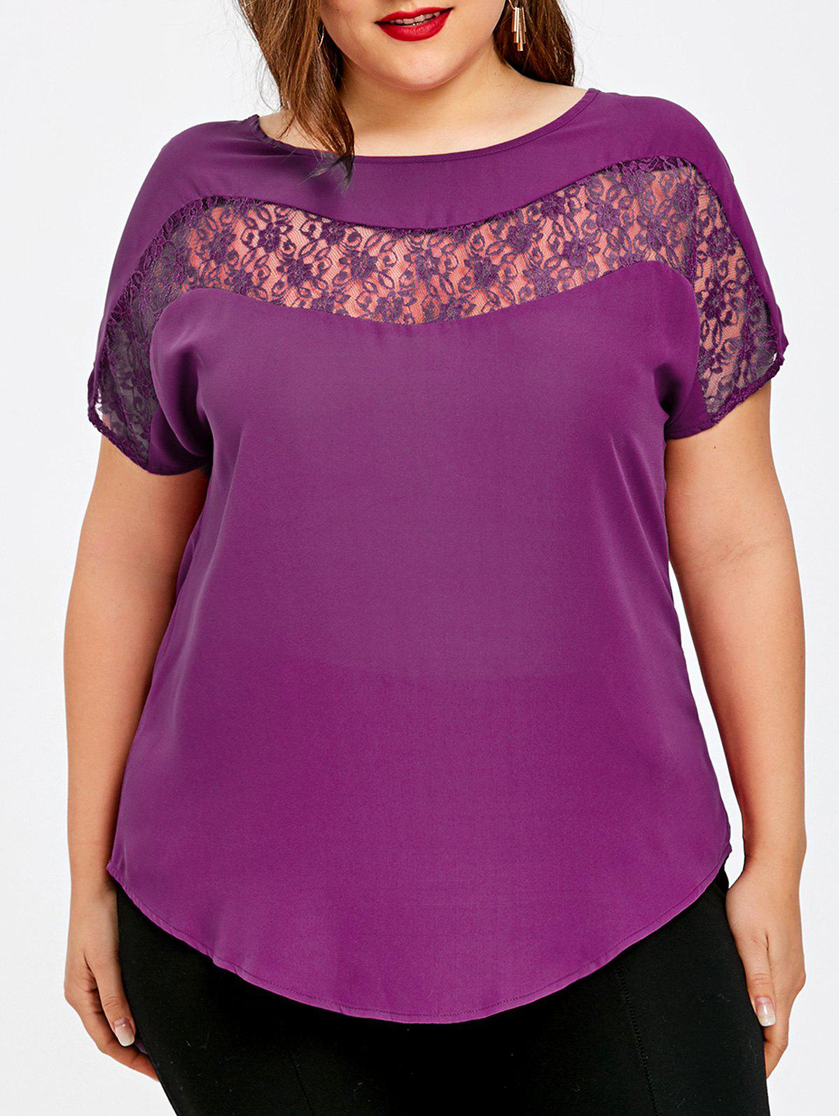 Plus Size Lace Trim Curved Hem Blouse - PURPLE XL