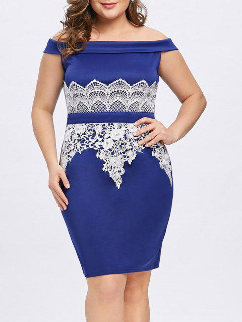 5152d74e0bfa LIMITED OFFER  2019 Plus Size Off The Shoulder Tight Dress In BLUE ...