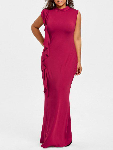 b8b713ffc5e 17% OFF  2019 Ruffles Mock Neck Plus Size Maxi Dress In WINE RED ...