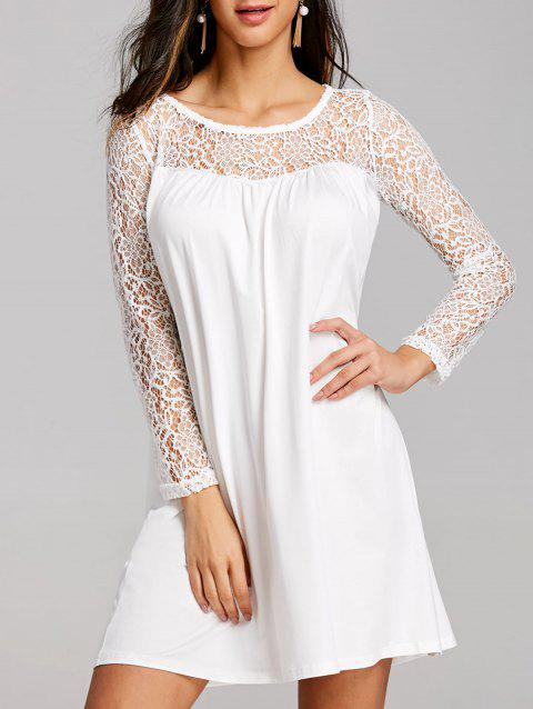 Long Sleeve Lace Panel Mini Shift Dress - WHITE XL