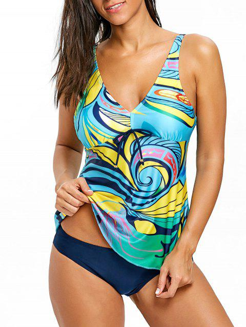 Empire Waist V Neck Tankini Set - COLORMIX 2XL