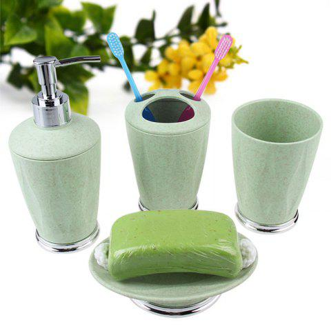 Bathroom  Accessory Set Soap Lotion Toothbrush Cup 4Pcs - GREEN TEA