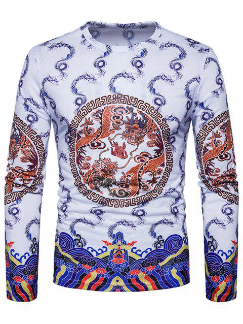 Dragons Geometric Print Chinese Style T-shirt - WHITE 2XL
