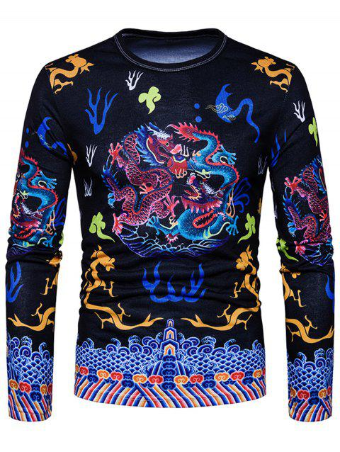 Chinese Vintage Style Dragons Print T-shirt - BLACK M