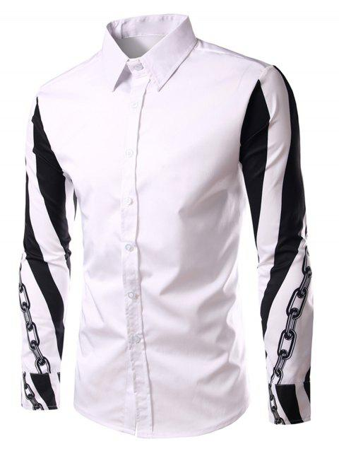 Chain Print Color Block Long Sleeve Shirt - WHITE M