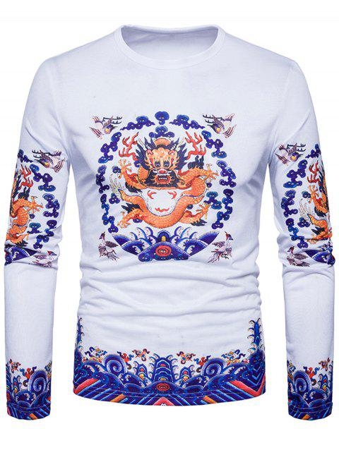 Crew Neck Dragon Print T-shirt - WHITE 2XL