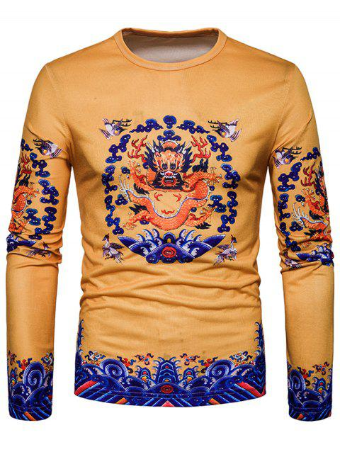 Crew Neck Dragon Print T-shirt - YELLOW XL