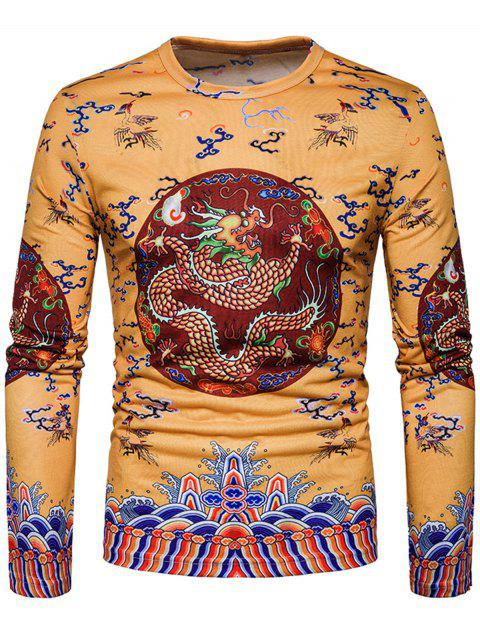 Long Sleeve Chinese Style Dragon Printed T-shirt - YELLOW M