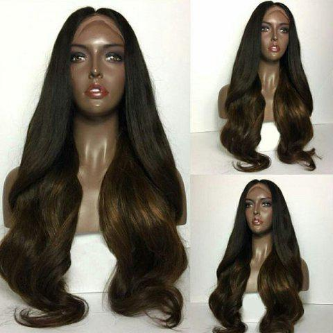 Long Center Parting Ombre Natural Wavy Human Hair Lace Front Wig - BLACK BROWN