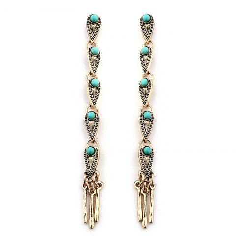 Layered Waterdrop Faux Turquoise Inlay Long Dangle Earrings - GOLDEN