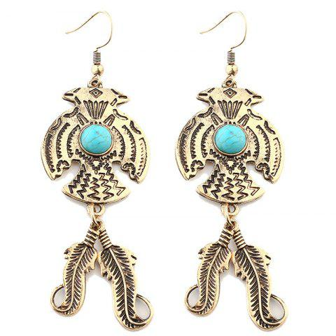 Vintage Eagle Shape Nature Stone Inlay Feather Metal Drop Earrings - GOLDEN