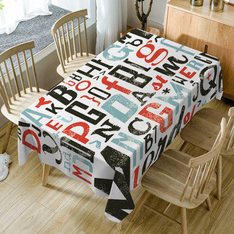 Letter Print Waterproof Table Cloth - COLORMIX W54 INCH * L72 INCH