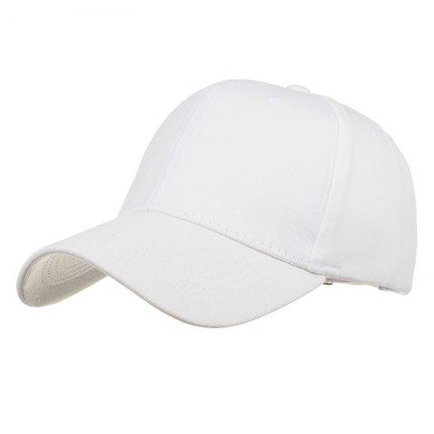 Simple Line Embroidery Adjustable Baseball Cap - WHITE