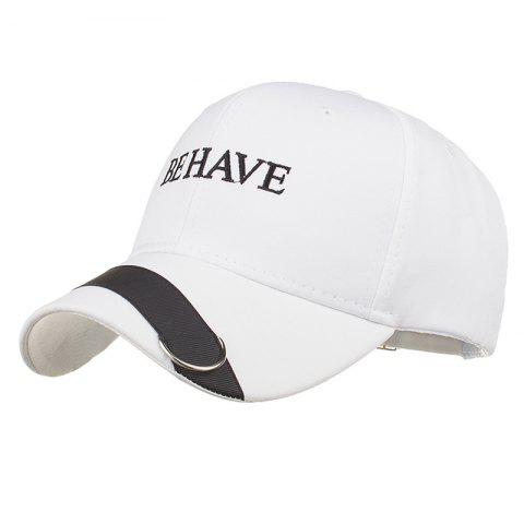 Metal Ring Letter Embroidery Adjustable Graphic Hat - WHITE