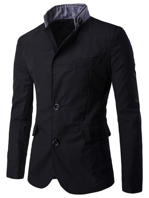 Stand Collar Casual Single Breasted Blazer - BLACK XL