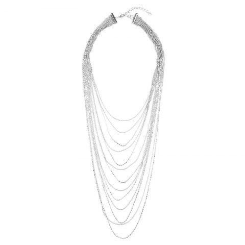 Layered Alloy Fringed Chain Necklace - SILVER