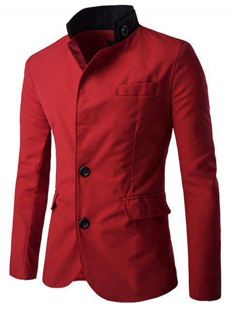 Stand Collar Casual Single Breasted Blazer - RED 2XL