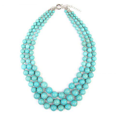 Bohemian Layered Faux Turquoise Beaded Necklace - LIGHT BLUE