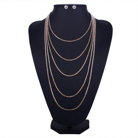 Rhinestone Layered Fringed Necklace with Earrings - GOLDEN