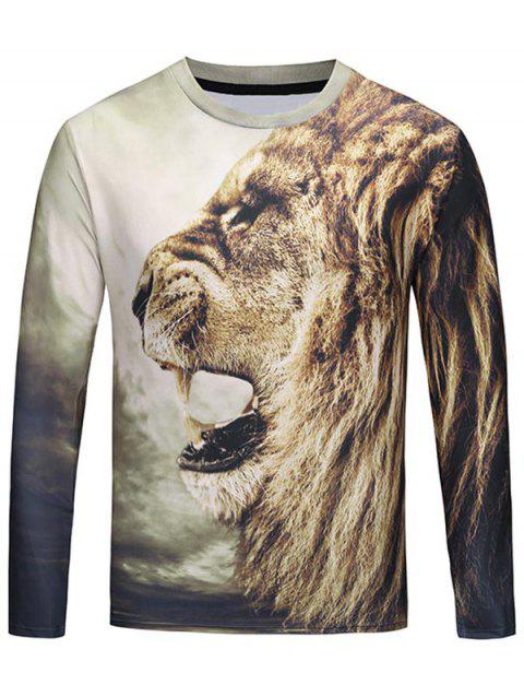 Crew Neck 3D Roar Lion Print T-shirt - BROWN XL