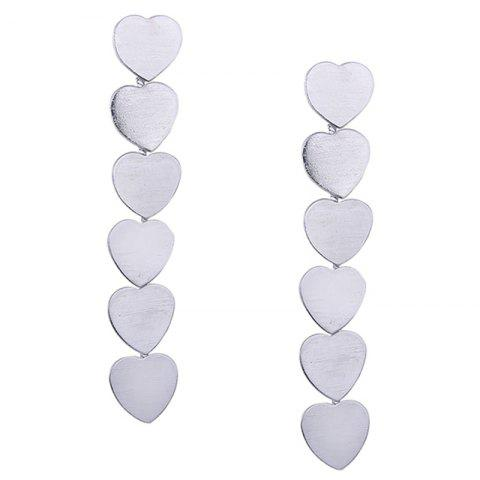 Simple Alloy Heart Layered Drop Earrings - SILVER