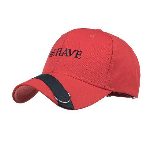 Metal Ring Letter Embroidery Adjustable Graphic Hat - RED