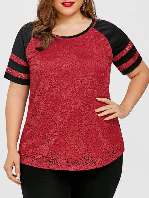Plus Size Raglan Sleeve Lace Panel T-shirt - RED XL